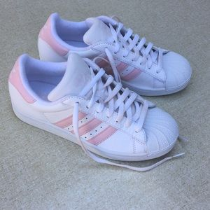 Adidas Superstars Pink Vintage Shoes 8 Lace Up